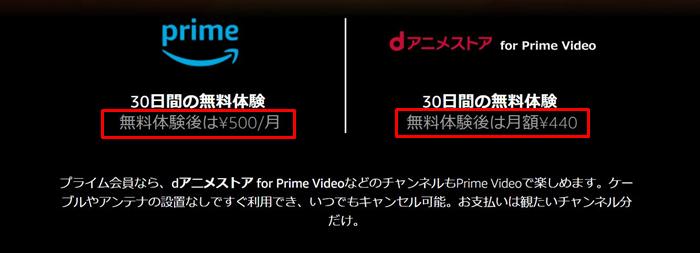 Amazonプライム dアニメストア