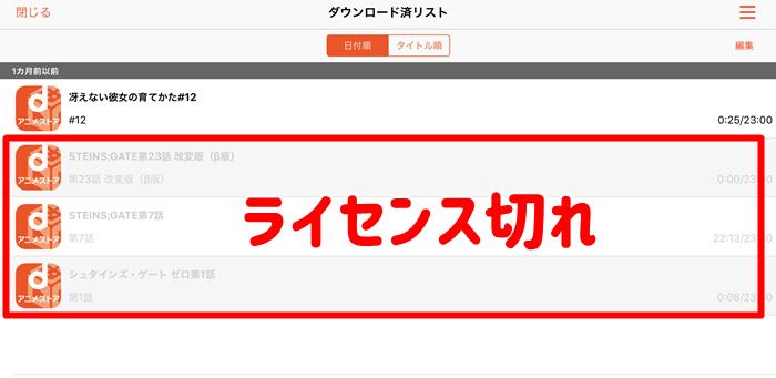 dアニメストア ダウンロード ライセンス